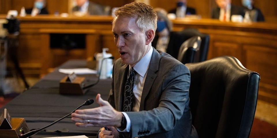 Senator James Lankford, R-OK, speaks during a Senate Committee on Energy and Natural Resources hearing on the nomination of Rep. Deb Haaland, D-NM, to be Interior Secretary.