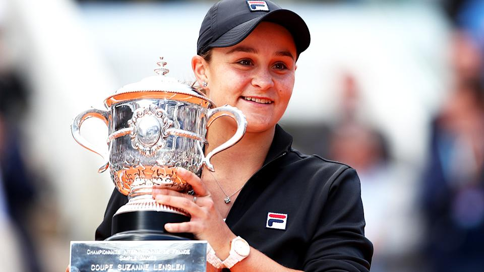 Ash Barty, pictured here after winning the 2019 French Open title.