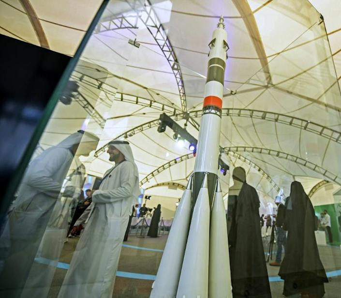 The UAE which is planning to launch the first Arab mission to Mars next month sent its first astronaut into space last year (AFP Photo/KARIM SAHIB)