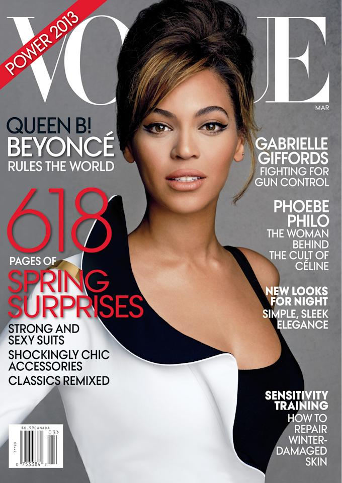 "<div class=""caption-credit""> Photo by: Vogue</div><div class=""caption-title""></div><b>1. Beyonce</b> They don't call her Queen Bey for nothing! The singer graced the March 2013 cover of Vogue magazine, and it continues to be the best selling issue for the fashion bible this year. With 355,397 issues sold, she's even surpassed the April 2013 issue that featured Michelle Obama and touted an exclusive interview with the first lady. That issue was the next best seller, shilling 293,798 copies. In her second cover story for Vogue magazine, Beyonce discussed her then-upcoming HBO documentary and her pregnancy with daughter Blue Ivy. The glam cover shot showcased her curves in a red and black Alexander McQueen robe complete with matching bra and high-waisted underwear. <br>"