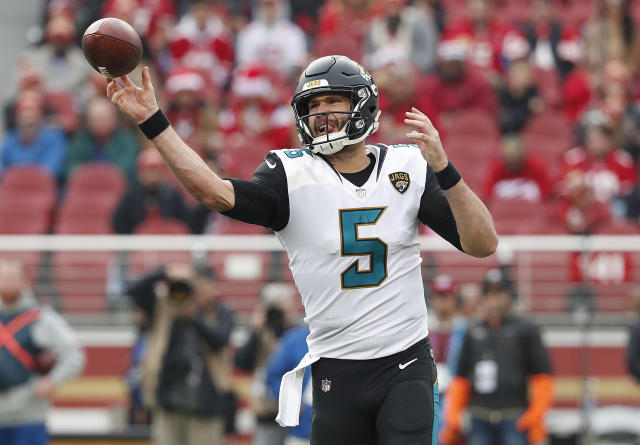 "Jacksonville Jaguars quarterback Blake Bortles is finally beginning to look like a franchise quarterback. In terms of his first three seasons in the NFL, Bortles' first-year offensive coordinator, Nathaniel Hackett, tells Yahoo Sports: ""Blake has not been an efficient quarterback."" (AP)"