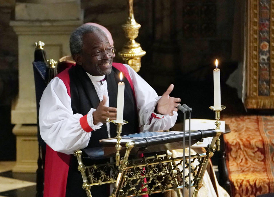 Bishop Michael Bruce Curry gives a reading during the wedding ceremony of Britain's Prince Harry, Duke of Sussex and US actress Meghan Markle in St George's Chapel, Windsor Castle, in Windsor, on May 19, 2018. (Photo by Owen Humphreys / POOL / AFP)        (Photo credit should read OWEN HUMPHREYS/AFP via Getty Images)