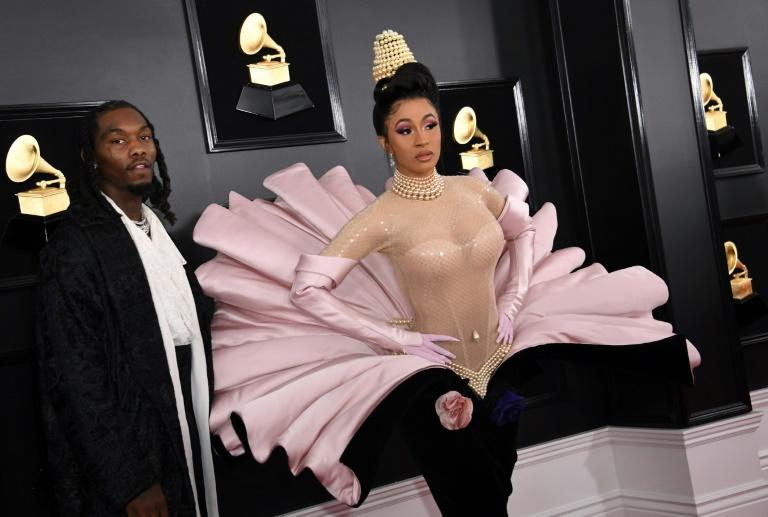 US rapper Cardi B (with on-off husband Offset) wowed on the Grammys red carpet