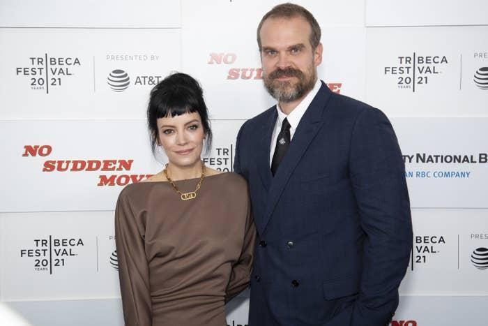 Lily Allen and David Harbour are photographed at a movie premiere during the 2021 Tribeca Festival in New York City