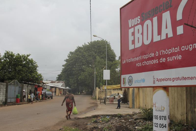 A billboard with a message about Ebola is seen on a street in Conakry, Guinea October 26, 2014. The U.S. Ambassador to the United Nations, Samantha Power, is traveling to Guinea on Sunday and will also visit Liberia and Sierra Leone, making the trip despite calls by some U.S. lawmakers for a travel ban on the three West African countries worst-affected by Ebola. REUTERS/Michelle Nichols (GUINEA - Tags: HEALTH POLITICS)