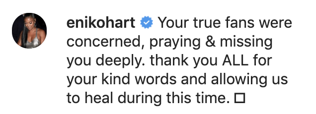 Reactions to Kevin Hart's video about his car crash recovery included one from his wife, Eniko Hart. (Screenshot: Kevin Hart via Instagram)