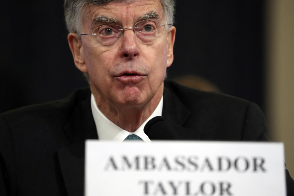 Top U.S. diplomat in Ukraine William Taylor testifies before the House Intelligence Committee on Capitol Hill in Washington, Wed., Nov. 13, 2019. (AP Photo/Andrew Harnik)