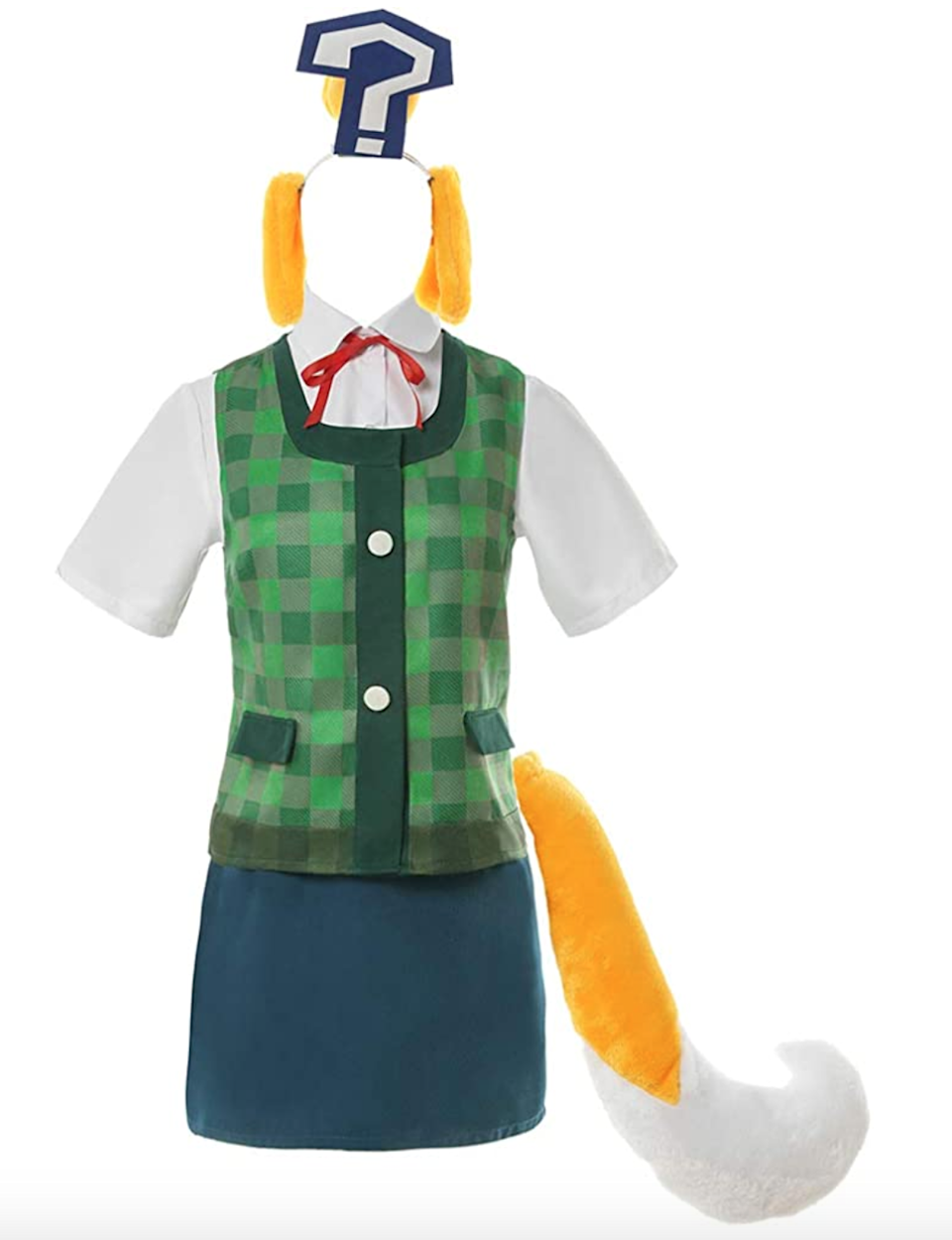 """<h2>Complete Isabelle Outfit</h2><br>This outfit is for the professional cosplayer. It comes with everything you could need for the most accurate cosplay of Isabelle — including her quintessential question mark. <br><br><em>Shop</em> <strong><em><a href=""""https://amzn.to/3cZC3Uw"""" rel=""""nofollow noopener"""" target=""""_blank"""" data-ylk=""""slk:Amazon"""" class=""""link rapid-noclick-resp"""">Amazon</a></em></strong><br><br><br><strong>Nuoqi</strong> Isabelle Cosplay Outfit, $, available at <a href=""""https://www.amazon.com/Nuoqi-Crossing-Cosplay-Isabelle-Halloween/dp/B088B78B3J/ref=sr_1_5"""" rel=""""nofollow noopener"""" target=""""_blank"""" data-ylk=""""slk:Amazon"""" class=""""link rapid-noclick-resp"""">Amazon</a>"""