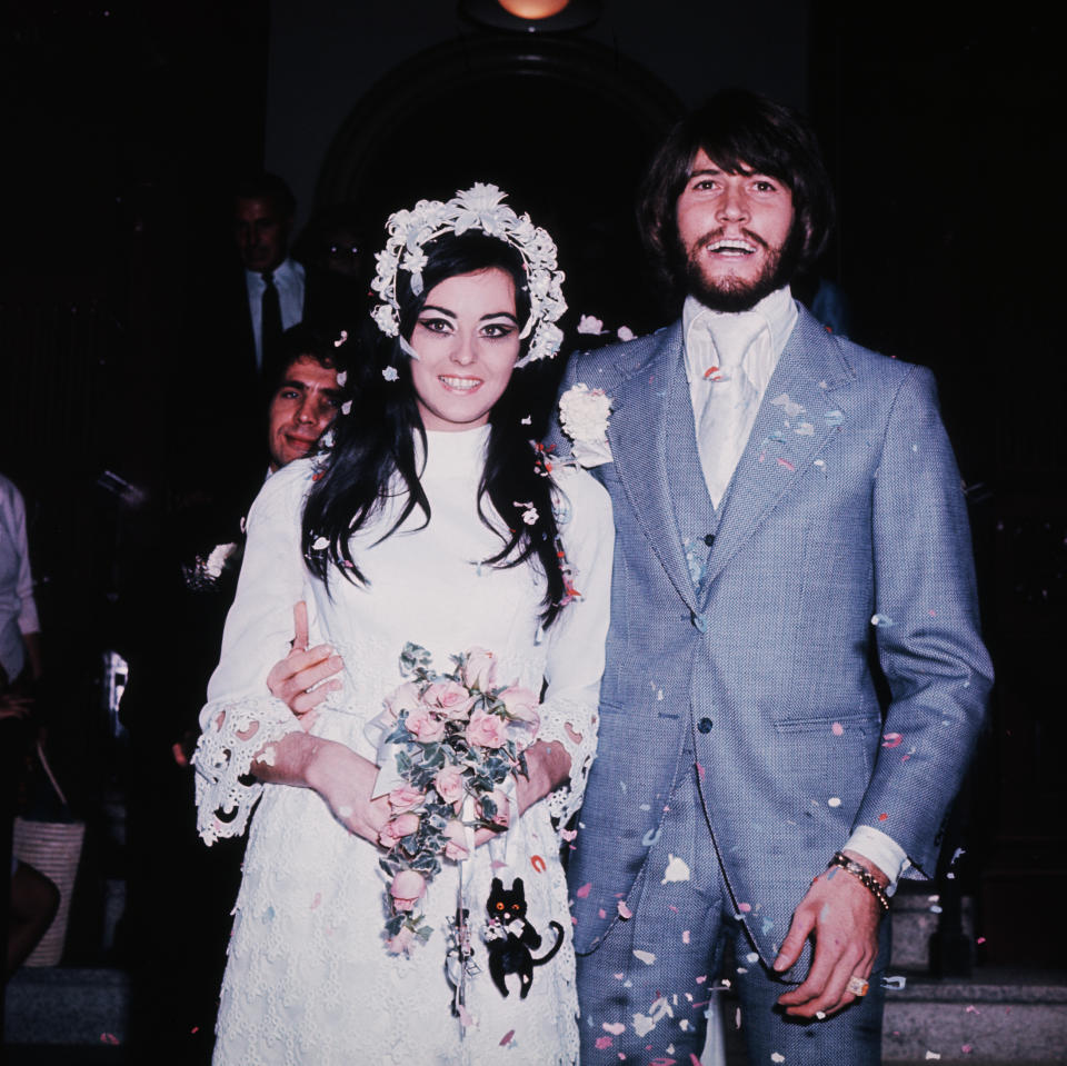 (Original Caption) British singer Barry Gibb from the pop group the Bee Gees, at his wedding to Linda Gray. (Photo by © Hulton-Deutsch Collection/CORBIS/Corbis via Getty Images)