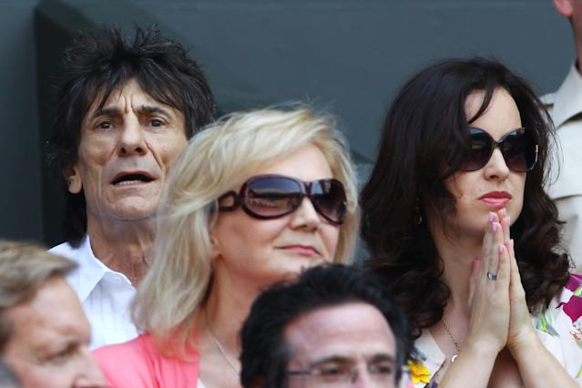 LONDON, ENGLAND - JULY 07: Ronnie Wood attends the Gentlemen's Singles Final match between Andy Murray of Great Britain and Novak Djokovic of Serbia on day thirteen of the Wimbledon Lawn Tennis Championships at the All England Lawn Tennis and Croquet Club on July 7, 2013 in London, England. (Photo by Clive Brunskill/Getty Images)