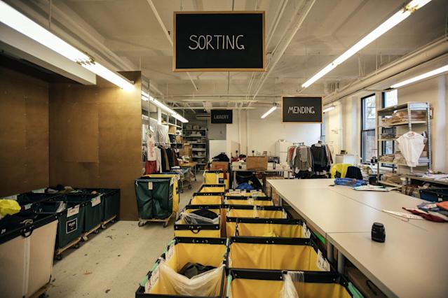 Sorting at the Tiny Factory. (Photo: Courtesy of Eileen Fisher)