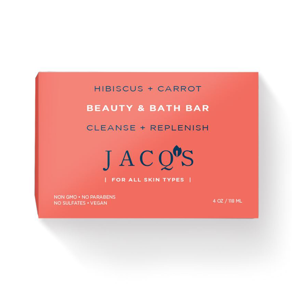 """<p><strong>JACQ's </strong></p><p>shopjacqs.com</p><p><strong>$6.00</strong></p><p><a href=""""https://www.shopjacqs.com/collections/beauty-bars/products/hibiscus-carrot-cleansing-bar"""" rel=""""nofollow noopener"""" target=""""_blank"""" data-ylk=""""slk:Shop Now"""" class=""""link rapid-noclick-resp"""">Shop Now</a></p><p>One of the main ingredients in this soap is carrots and it's for a good reason! The carrots help with cellular regeneration and clean and smooth even the most sensitive skin in the process. Jacq's uses natural ingredients that are sourced locally in Miami for the ultimate tropical feel and satisfying results. </p>"""