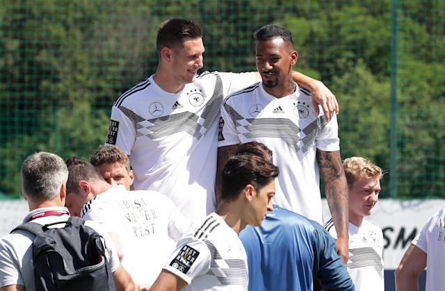 Soccer Football - FIFA World Cup - Germany Squad Official Team Photo - Eppan, Italy - June 5, 2018 Germany's Niklas Sule and Jerome Boateng before the team photo REUTERS/Lisi Niesner