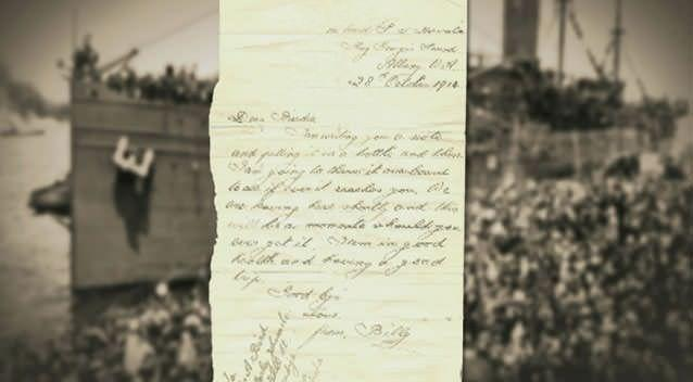 Mystery surrounds Anzac letter found at a Tyabb market 15 years ago. Photo: 7News