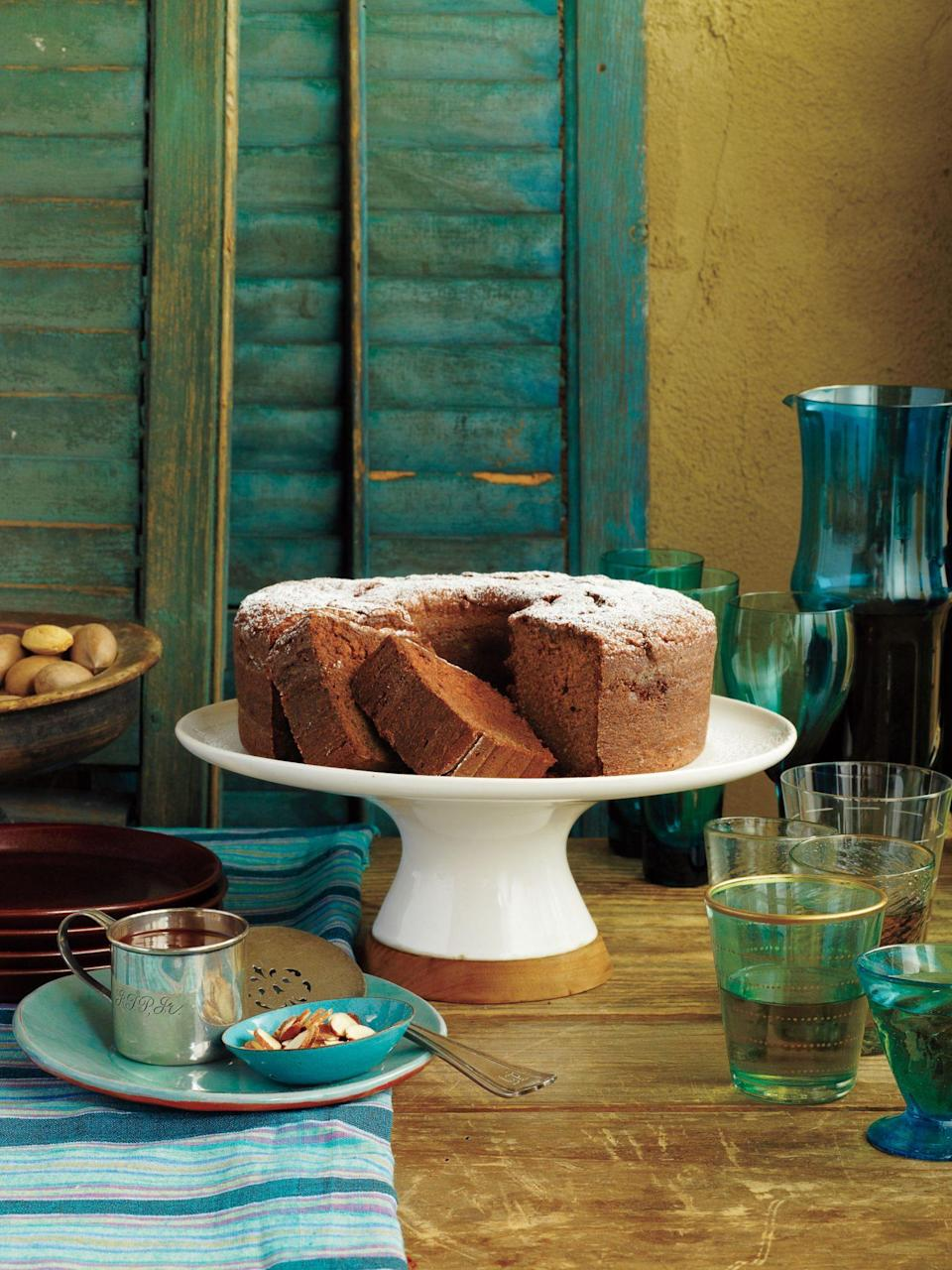 """<p><strong>Recipe: <a href=""""https://www.southernliving.com/syndication/mexican-chocolate-pound-cake"""" rel=""""nofollow noopener"""" target=""""_blank"""" data-ylk=""""slk:Mexican Chocolate Pound Cake"""" class=""""link rapid-noclick-resp"""">Mexican Chocolate Pound Cake</a></strong></p> <p>This spiced-up chocolate pound cake is ideal for chilly months. A dusting of powdered sugar and a topping of chocolate sauce make for beautiful presentation.</p>"""