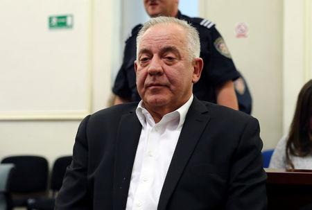 Former Croatian Prime Minister Ivo Sanader is seen at a court during an announcement of a verdict in Zagreb