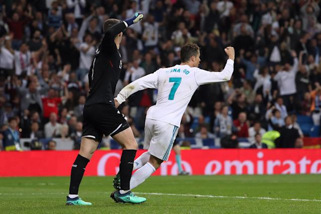 Cristiano Ronaldo celebrates his goal for Real Madrid against Athletic Bilbao. (Reuters)