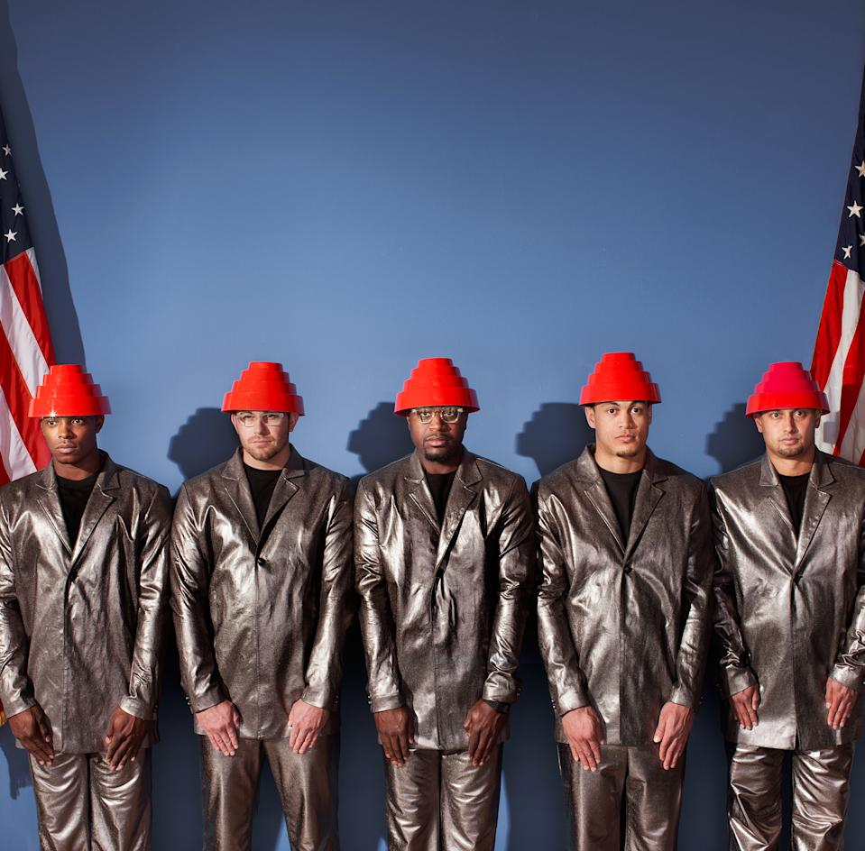 "(Left to right) MLB players Justin Upton, Evan Longoria, Brandon Phillips, Giancario Stanton and Shane Victorino as Devo's ""Freedom of Choice"" (ESPN The Magazine)"