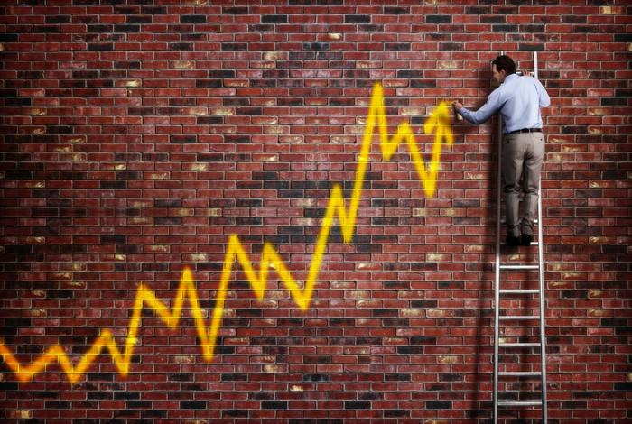 Man on ladder drawing yellow stock chart on a brick wall indicating steep gains.