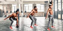 "<p>The principle of this workout is a simple one: stress the maximum <a href=""https://www.menshealth.com/uk/building-muscle/a750068/which-muscle-groups-should-i-work-out-on-the-same-day"" rel=""nofollow noopener"" target=""_blank"" data-ylk=""slk:muscle fibres"" class=""link rapid-noclick-resp"">muscle fibres</a> in the minimum time to incinerate calories quickly. This workout uses compound lifts to hit every <a href=""https://www.menshealth.com/uk/building-muscle/a750068/which-muscle-groups-should-i-work-out-on-the-same-day"" rel=""nofollow noopener"" target=""_blank"" data-ylk=""slk:muscle group"" class=""link rapid-noclick-resp"">muscle group</a> from all angles. <a href=""http://www.menshealth.com/uk/fitness/a758971/the-5-best-exercises-for-burning-belly-fat/"" rel=""nofollow noopener"" target=""_blank"" data-ylk=""slk:Body fat"" class=""link rapid-noclick-resp"">Body fat </a>has nowhere to hide. Alternate your arms with each rep and work through as many rounds as possible in 15 minutes, resting only as necessary to maintain good form. Work from the most mechanically and metabolically difficult movement to the least, but increase the reps as you go so you maintain the intensity throughout. Pick a <a href=""https://www.menshealth.com/uk/building-muscle/a758657/the-7-best-kettlebell-exercises-to-build-muscle/"" rel=""nofollow noopener"" target=""_blank"" data-ylk=""slk:kettlebell"" class=""link rapid-noclick-resp"">kettlebell</a> you could press overhead at least 15 times, then grit your teeth.</p><blockquote class=""body-blockquote""><strong>Your expert: </strong>Our fitness editor <a href=""https://www.menshealth.com/uk/fitness/a34973163/andrew-tracey-mens-health-workout/"" rel=""nofollow noopener"" target=""_blank"" data-ylk=""slk:Andrew Tracey"" class=""link rapid-noclick-resp"">Andrew Tracey</a> is a champion of fuss-free, ferociously effective training.</blockquote>"