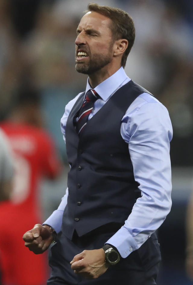 England head coach Gareth Southgate celebrates his team's 2-1 win at the end of the group G match between Tunisia and England at the 2018 soccer World Cup in the Volgograd Arena in Volgograd, Russia, Monday, June 18, 2018. (AP Photo/Thanassis Stavrakis)