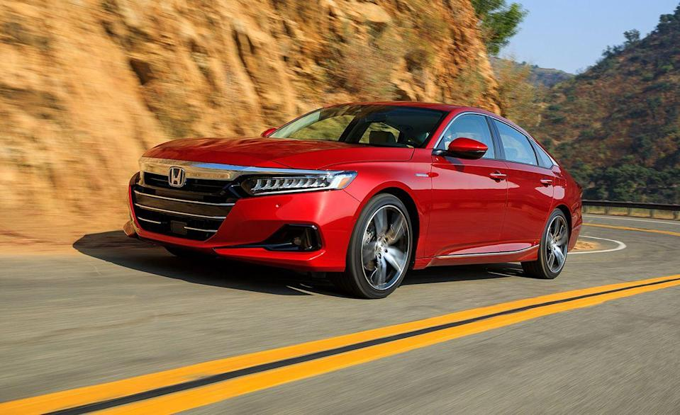 """<p>We can't mention the <a href=""""https://www.caranddriver.com/honda/accord"""" rel=""""nofollow noopener"""" target=""""_blank"""" data-ylk=""""slk:Honda Accord"""" class=""""link rapid-noclick-resp"""">Honda Accord</a> without mentioning it has received more 10Best awards than Tom Brady has won Super Bowls. For now. From 1983 to 2021 it piled up 35 wins. Other people like it too. With nearly 200,000 sold last year—during a pandemic—it's one of the best-selling sedans in the U.S. And it's safe. <a href=""""https://www.iihs.org/ratings/vehicle/honda/accord-4-door-sedan/2021"""" rel=""""nofollow noopener"""" target=""""_blank"""" data-ylk=""""slk:The Accord got top marks"""" class=""""link rapid-noclick-resp"""">The Accord got top marks</a> during IIHS crash tests and avoidance tests. It's child-seat anchors earned a Good+ rating for its additional easy-to-find latch positions. Accord LX and Hybrid trims received an Acceptable headlight rating, likely because its high-beam uses a halogen reflector rather than the LED reflectors standard on all other trims. Its standard emergency braking system performed well in all tests, and during the 37-mph parallel adult test, it dropped to 1 mph in 2.3 seconds before making contact with the test dummy. </p><p><a class=""""link rapid-noclick-resp"""" href=""""https://www.caranddriver.com/reviews/a15079405/2018-honda-accord-20t-automatic-test-review/"""" rel=""""nofollow noopener"""" target=""""_blank"""" data-ylk=""""slk:ACCORD TESTED"""">ACCORD TESTED</a> 