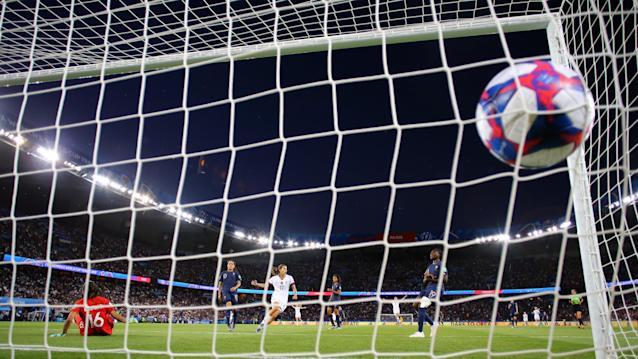 Tobin Heath of the USA scores her team's third goal however it is disallowed for offside during the 2019 FIFA Women's World Cup France Quarter Final match between France and USA at Parc des Princes on June 28, 2019 in Paris, France. (Photo by Richard Heathcote/Getty Images)