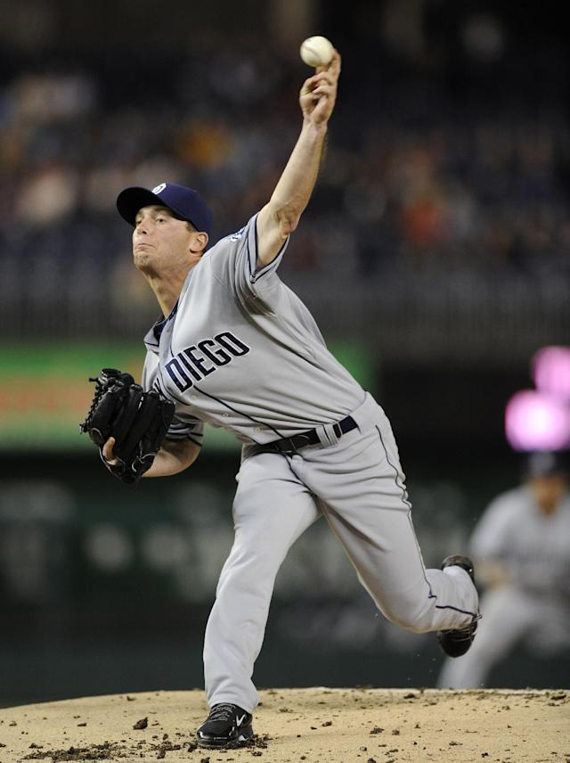 San Diego Padres starting pitcher Robbie Erlin delivers a pitch against the Washington Nationals during the first inning of a baseball game, Friday, April 25, 2014, in Washington. (AP Photo/Nick Wass)