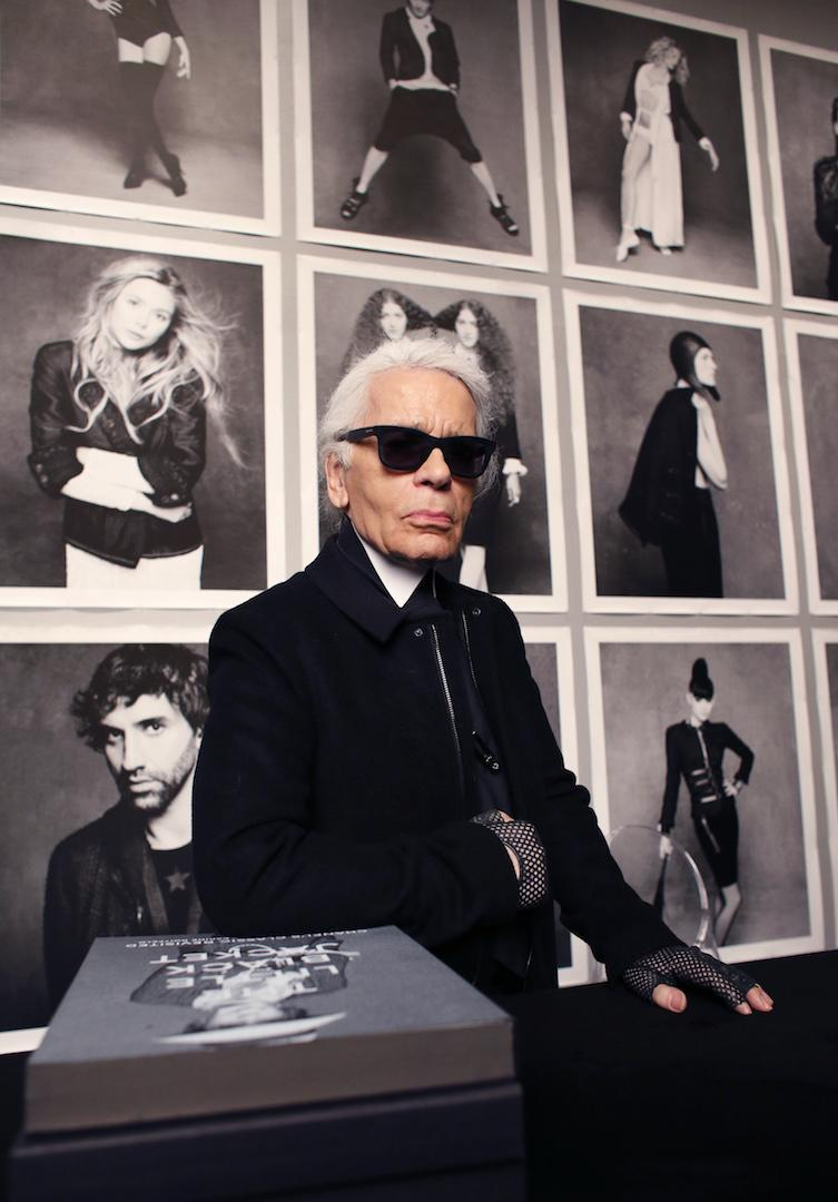 <p>Here, Lagerfeld is pictured at the Grand Palais in Paris ahead of his photo exhibition titled: 'Little Black Jacket. For the project, he created a coffee table book which includes images of 'friends of the house' from models to actors and musicians. <em>[Photo: Getty]</em> </p>