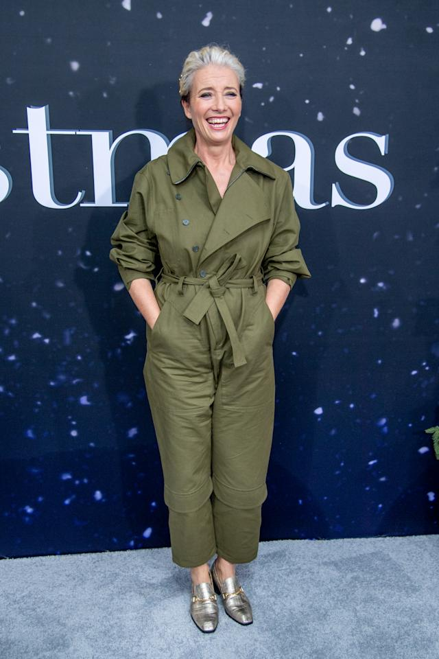 Emma Thompson rocked a khaki jumpsuit and metallic shoes. [Photo: Getty]