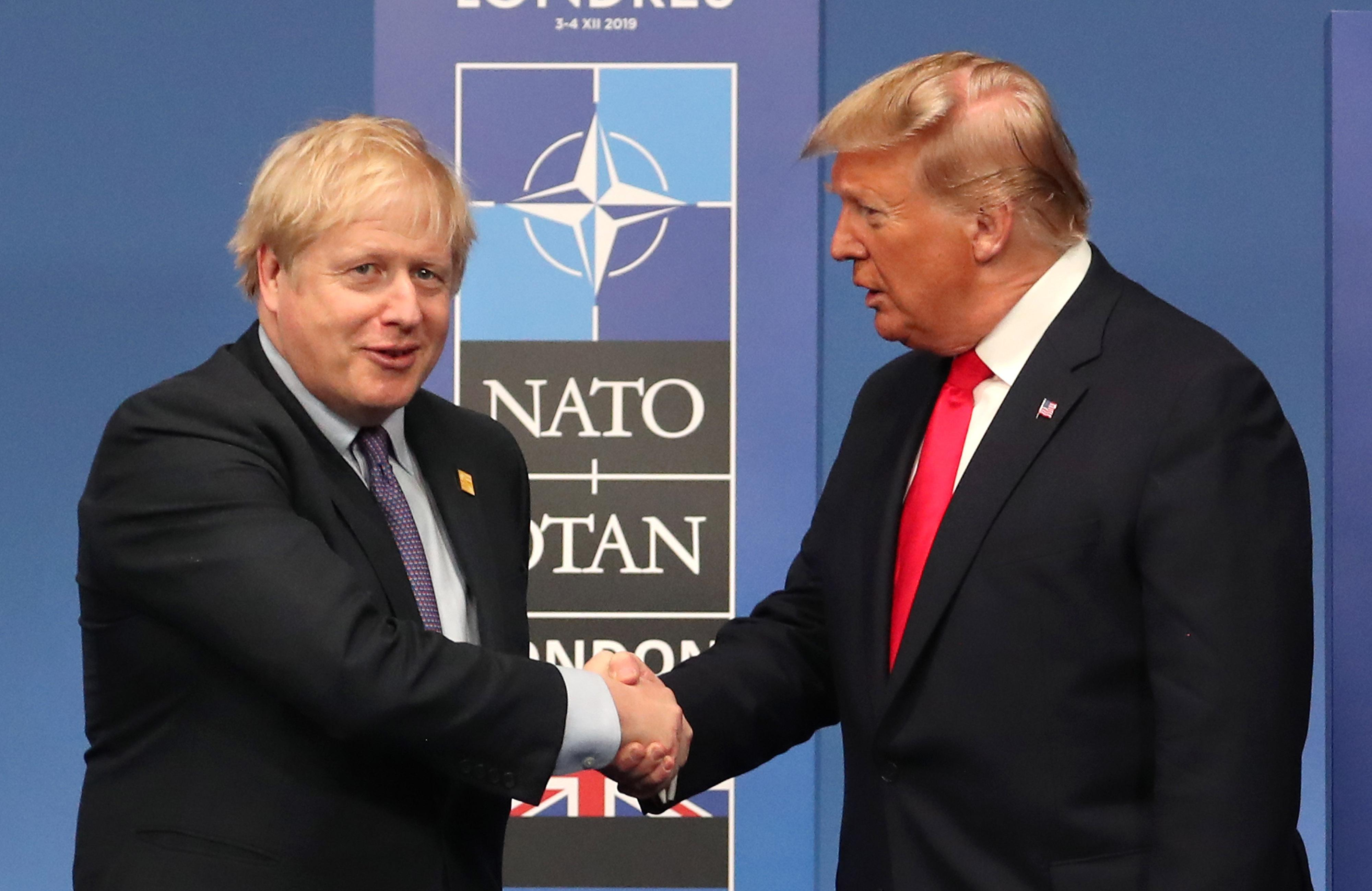 Prime Minister Boris Johnson (left) and US President Donald Trump during the annual Nato heads of government summit at The Grove hotel in Watford, Hertfordshire.