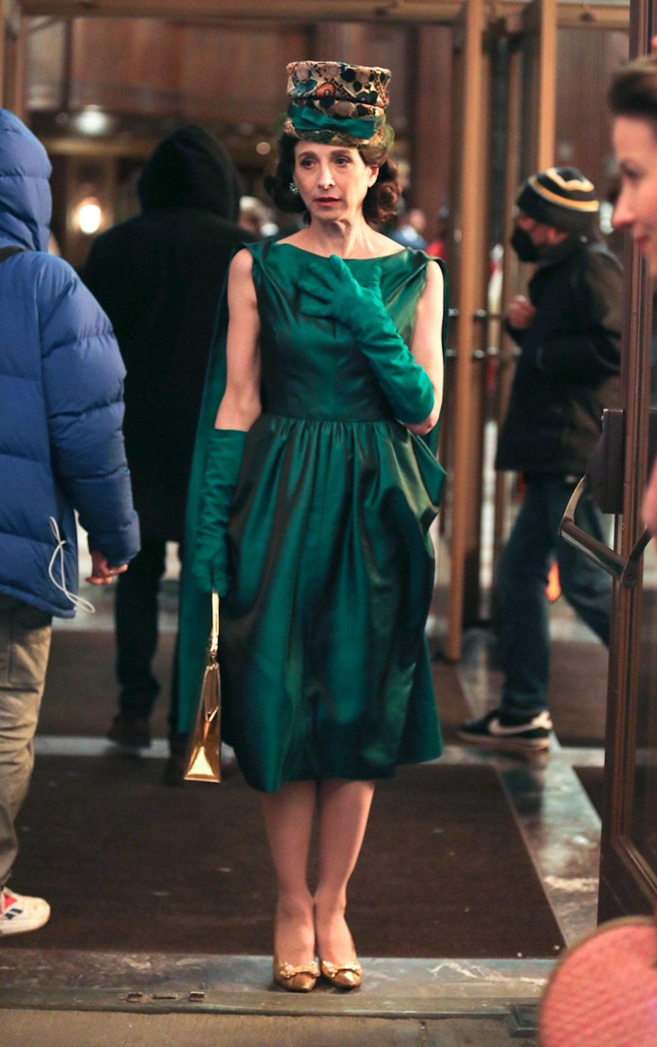 <p>On April 26, Marin Hinkle, who plays Midge's mother, Rose, looked gorgeous in a green evening gown and matching gloves. </p>
