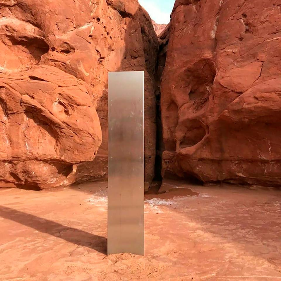 <p>A monolith appeared in and disappeared from a Utah desert in November</p>AP