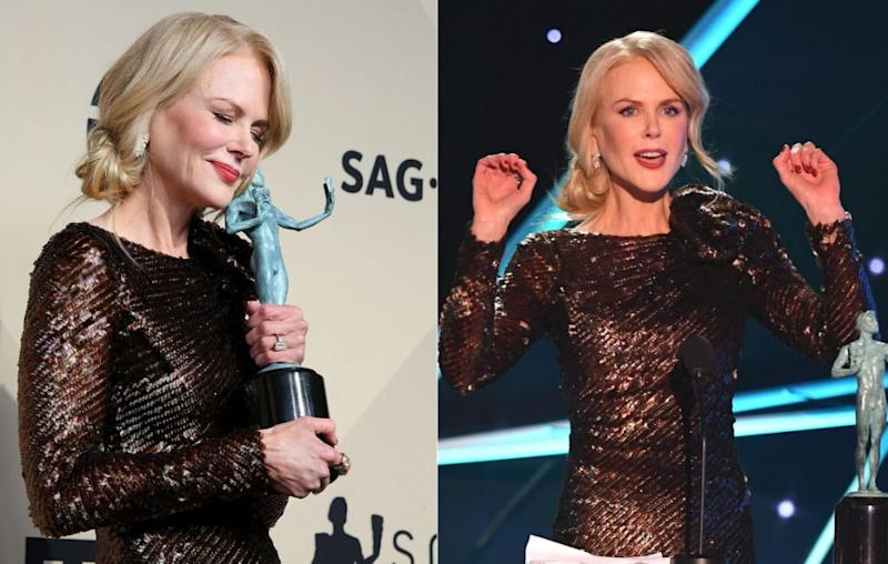 Despite being the golden girl of this awards season, Nicole Kidman (here at the SAG Awards) may not be a fan of losing. Source: Getty