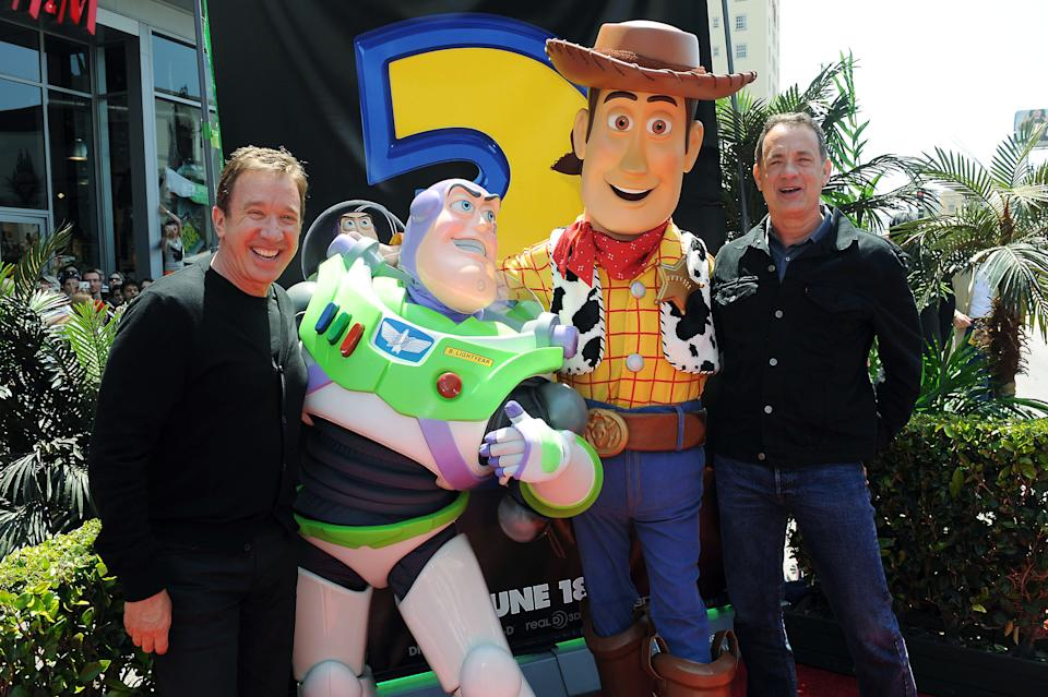 Tim Allen, at left, and Tom Hanks arrive at the world premiere of Toy Story 3 on Sunday June 13, 2010 at The El Capitan Theater in Los Angeles. (AP Photo/Katy Winn)