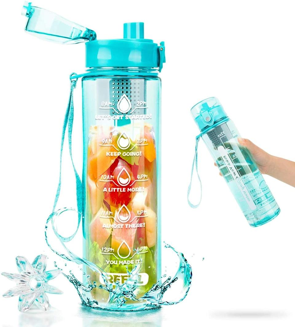 <p>The <span>Leakproof Sport Motivational Tracking Flip Top Water Bottle</span> ($19) will let you enjoy homemade infused water with hourly time markers. </p>