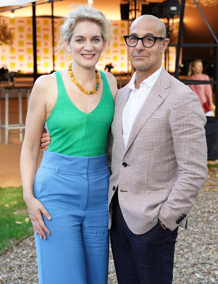 <p>Felicity Blunt and Stanley Tucci get all dressed up on Sept. 8 for the Women's Prize for Fiction awards ceremony at Bedford Square Garden in London. </p>