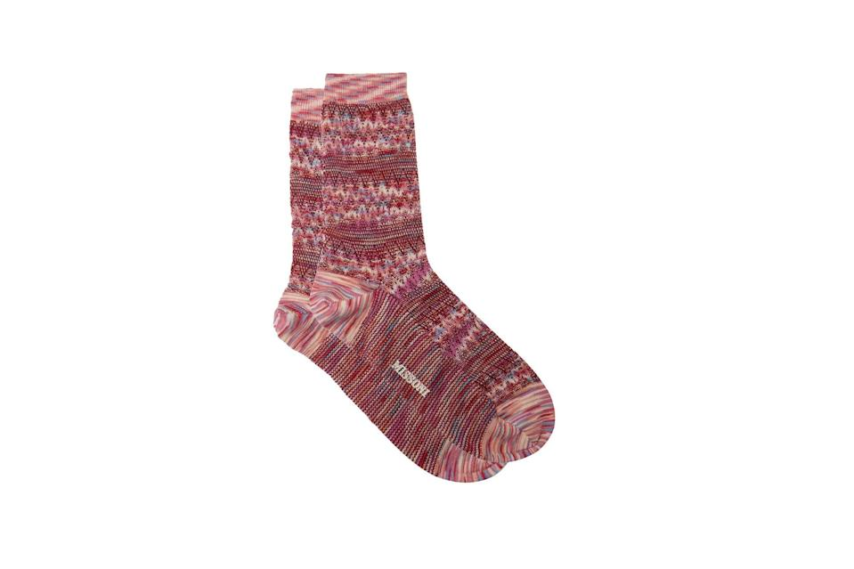 "$45, Matches Fashion. <a href=""https://www.matchesfashion.com/us/products/Missoni-Zigzag-jacquard-space-dyed-wool-blend-socks-1379550"" rel=""nofollow noopener"" target=""_blank"" data-ylk=""slk:Get it now!"" class=""link rapid-noclick-resp"">Get it now!</a>"