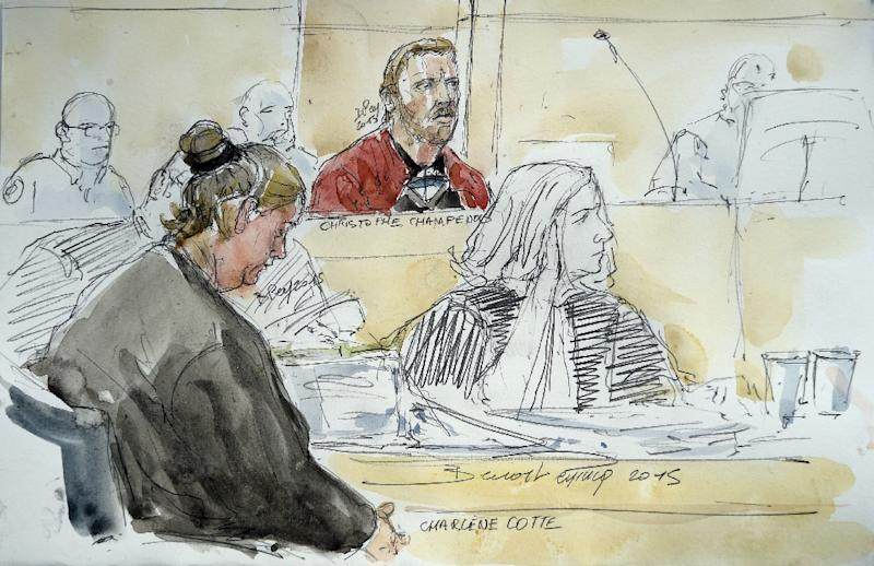 A court sketch made on September 8, 2015, shows Charlene Cotte (L) and Christophe Champenois (C), the parents of Bastien, a boy who died after getting locked in a washing machine by his father, during their trial at the Assize Court in Melun, France