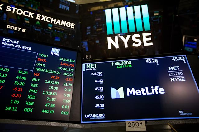 A monitor displays MetLife Inc. signage on the floor of the New York Stock Exchange (NYSE) in New York, U.S., on Monday, March 26, 2018. U.S. equities rallied back from the biggest weekly rout in more than two years, with major benchmarks climbing more than 1 percent on signs that an escalation of trade tensions was beginning to ease. Photographer: Michael Nagle/Bloomberg