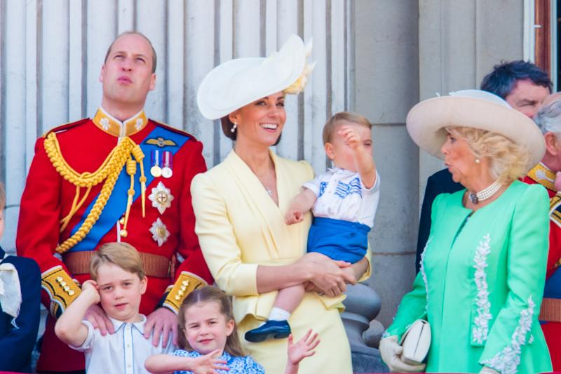 Camilla and Prince Louis had a moment on the balcony. [Photo: PA]