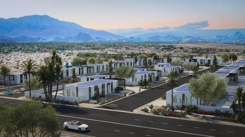 <p>The 3D-printed homes in the Coachella Valley will be powered by solar</p> (Palari)