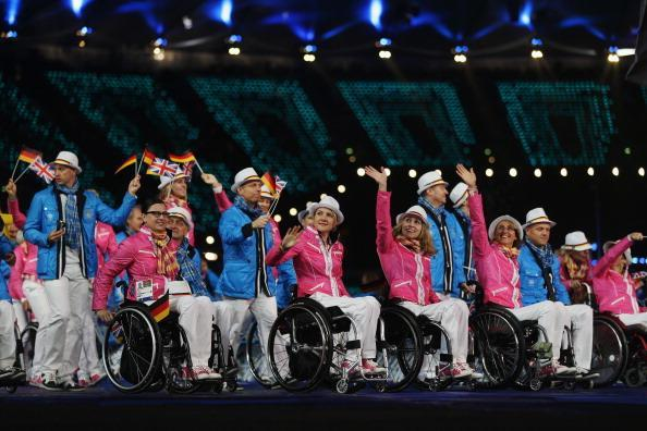 LONDON, ENGLAND - AUGUST 29: German athletes wave during the Opening Ceremony of the London 2012 Paralympics at the Olympic Stadium on August 29, 2012 in London, England. (Photo by Clive Rose/Getty Images)
