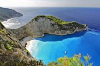 <p>Navagio Beach is renowned as one of the best beaches in Europe, thanks to the gorgeous turquoise waters and shipwreck, which is washed up on the sand. </p>