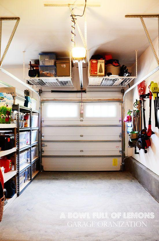 """<p>A utility space is perfect for hanging sturdy racks overhead. Try this trick for storing seasonal items you don't always need to access quickly.</p><p><a href=""""http://www.abowlfulloflemons.net/2012/09/home-organization-101-week-2-garage.html"""" rel=""""nofollow noopener"""" target=""""_blank"""" data-ylk=""""slk:Get the tutorial at A Bowl Full of Lemons »"""" class=""""link rapid-noclick-resp""""><em>Get the tutorial at A Bowl Full of Lemons »</em></a> </p>"""