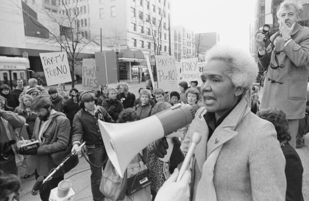Rosemary Brown is pictured speaking at a protest in 1984. Burnaby city council voted this week to name a yet-to-be-completed sports complex the Rosemary Brown Arena.