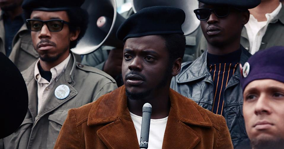 JUDAS AND THE BLACK MESSIAH, from left: Darrell Britt-Gibson, as Bobby Rush, Daniel Kaluuya, as Chairman Fred Hampton, Ashton Sanders, as Jimmy Palmer, 2021. Warner Bros. / Courtesy Everett Collection