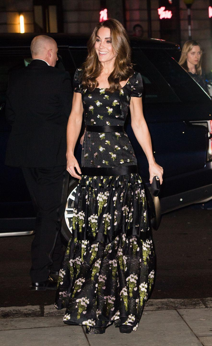 <p>The Duchess chose this black floral dress, which she originally wore to the 2017 BAFTA awards, for the 2019 National Portrait Gallery Gala. </p>
