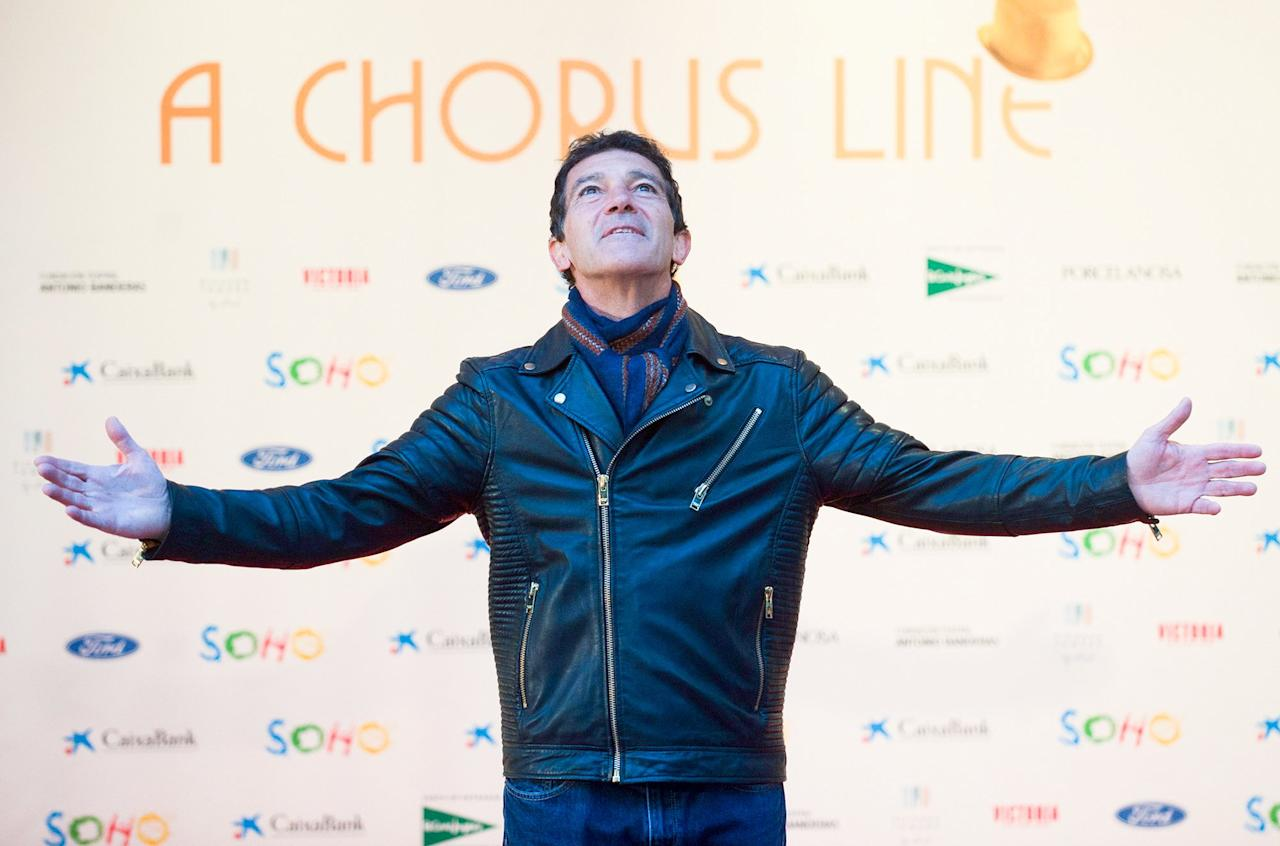 Antonio Banderas poses during a photo call for the <em>A Chorus Line</em> musical premiere in Málaga, Spain, on Friday.