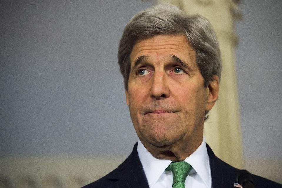 US Secretary of State John Kerry delivers a statement on Syria at the State Department in Washington, DC on March 15, 2016 (AFP Photo/Jim Watson)
